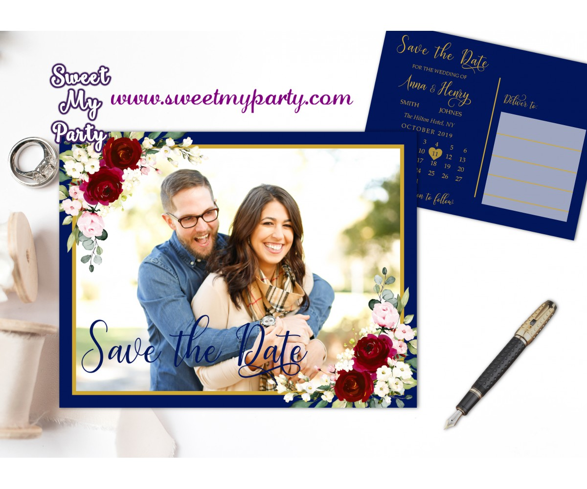 Navy Burgndy Save the Date,Navy Burgundy Save Our Date,(125w)