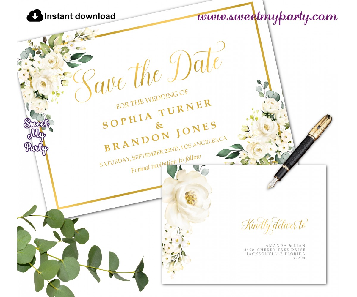 Ivory Roses Save the Date card printable template,Ivory Save the Date,(123)