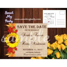 Sunflower Wedding Save the Date, Fall leaves Wedding Save the date,(001w)
