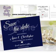 Navy Blue Wedding Save the Date cards,Navy blue Wedding Save Our Date, (00b)