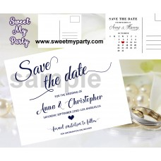 Navy Blue Wedding Save the Date cards,Navy blue Wedding Save Our Date, (00c)