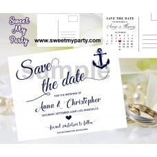 Anchor Wedding Save the Date cards,Navy blue Wedding Save the Date, (00d)