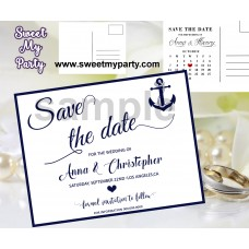 Anchor Wedding Save the Date cards,Anchor Navy blue Wedding Save the Date, (00e)