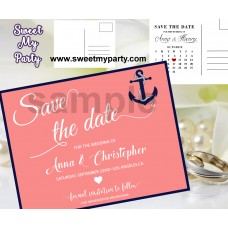 Anchor Wedding Save the Date cards,Navy blue coral Wedding Save the Date, (00f)