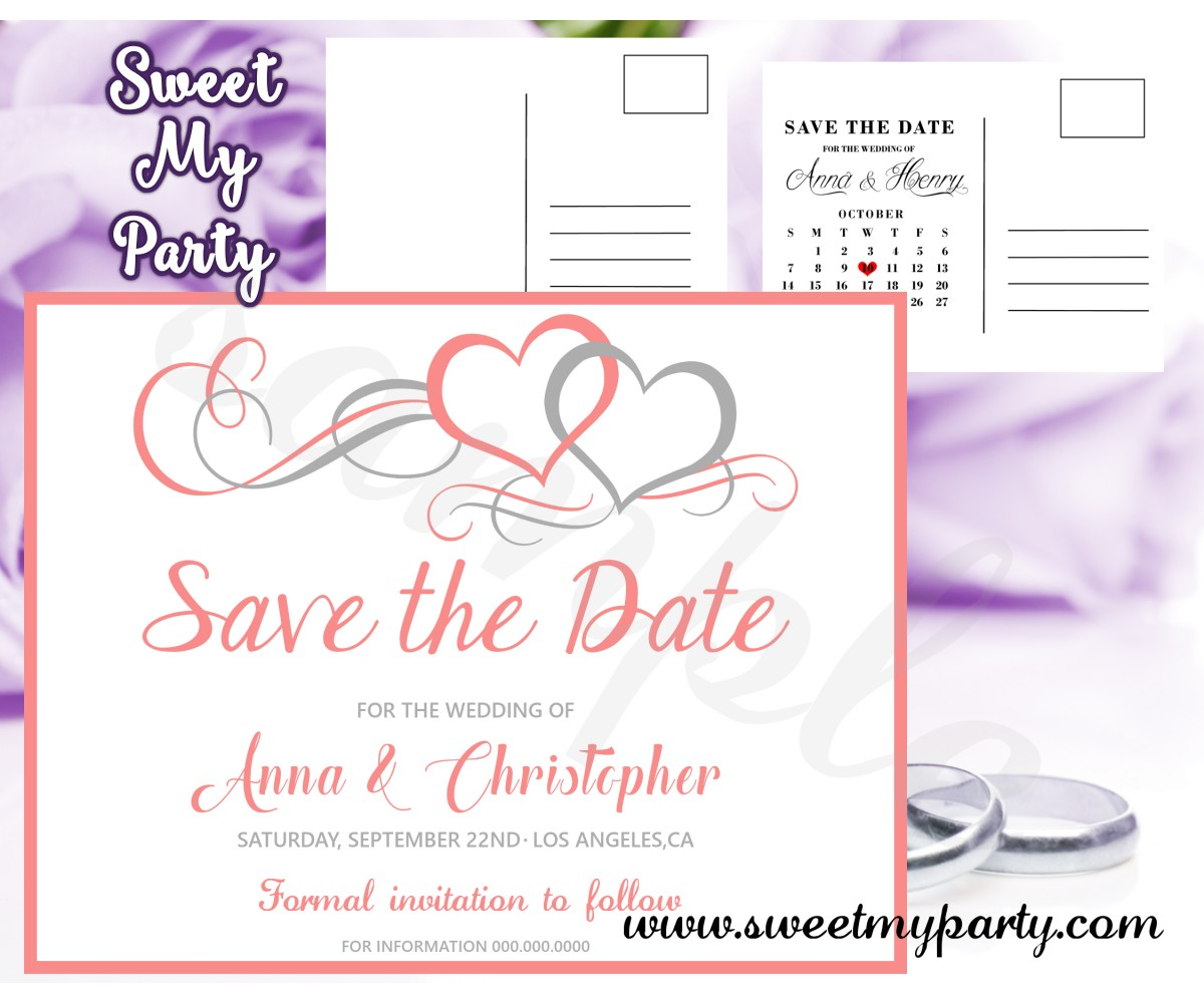 Hearts Wedding Save the Date card, Hearts coral Save Our Date postcard,(018w)