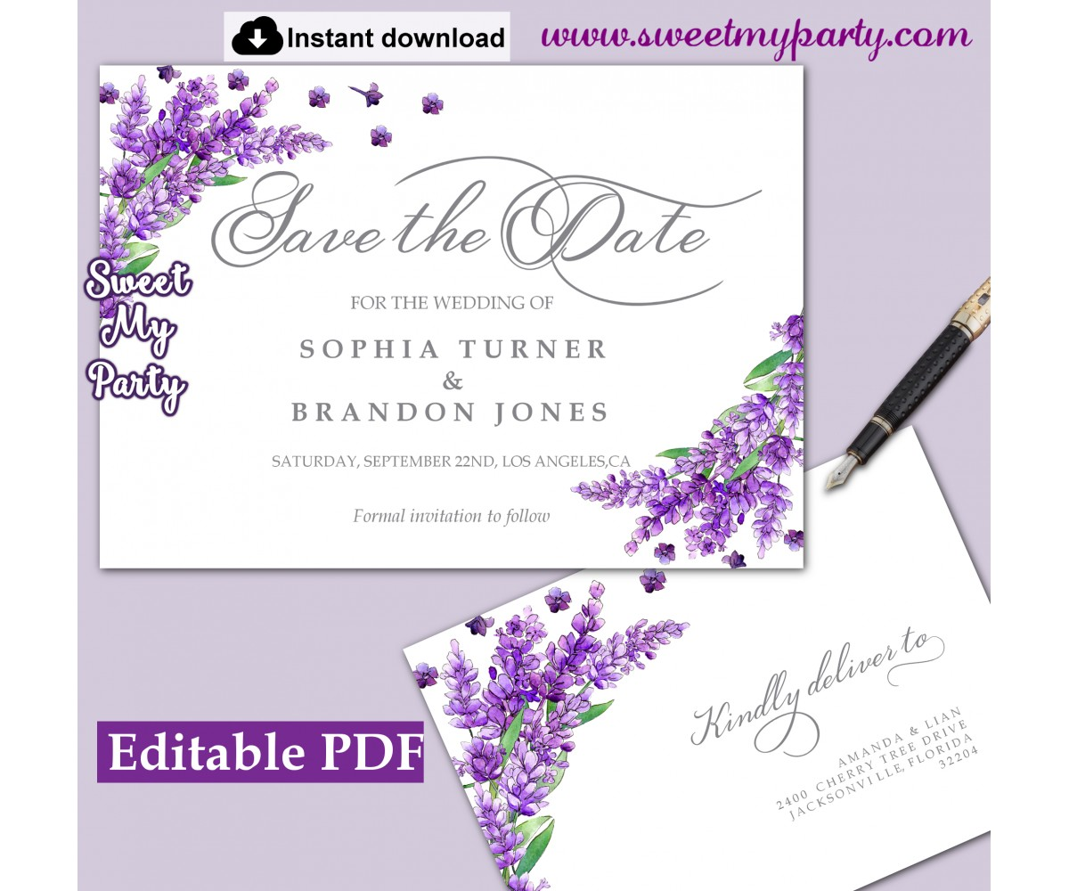 photograph relating to Save the Date Printable identified as Lavender Preserve the Day card printable template,Help save the Day card,(131)