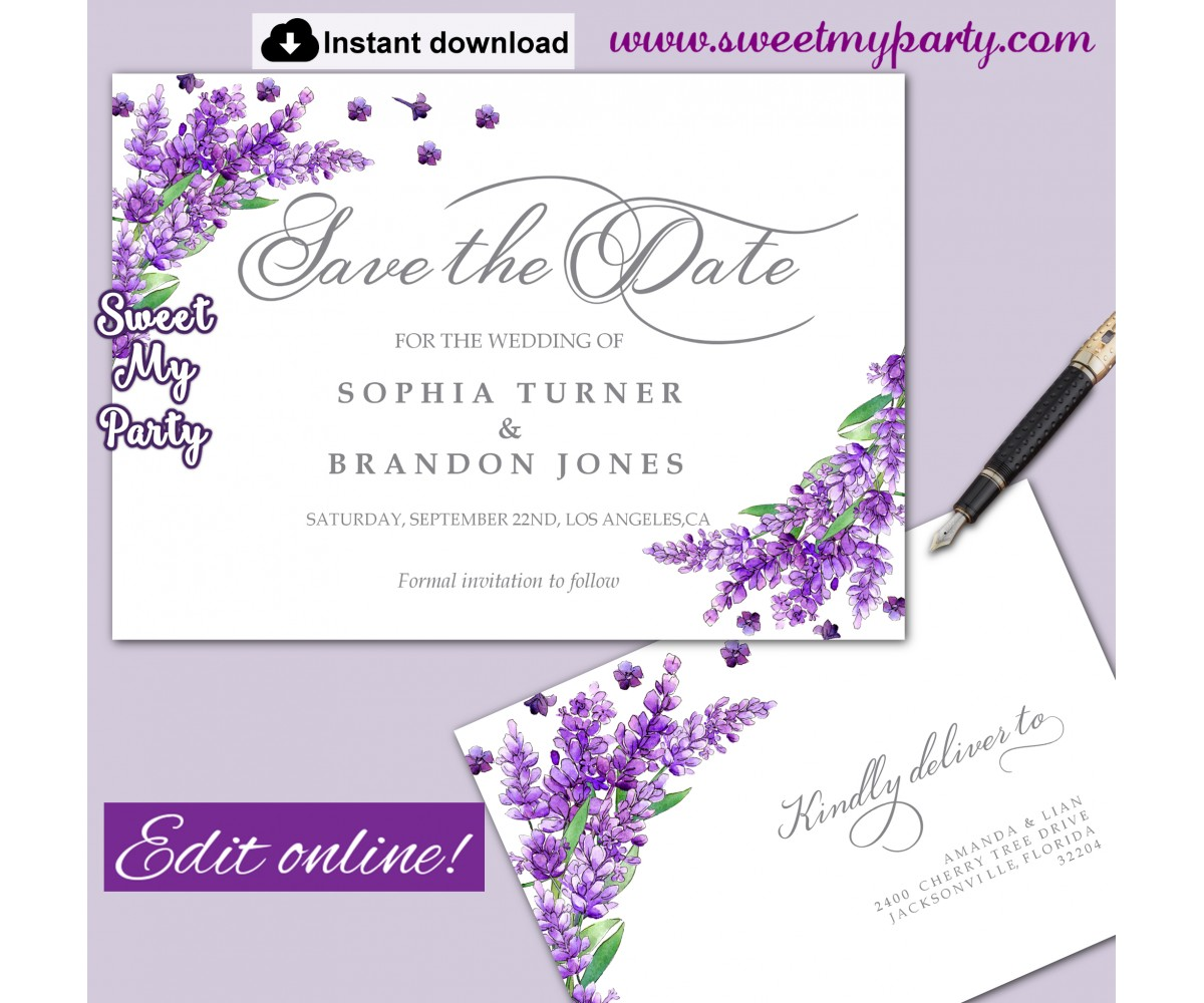 Lavender Save the Date card printable template,Save the Date card,(131)