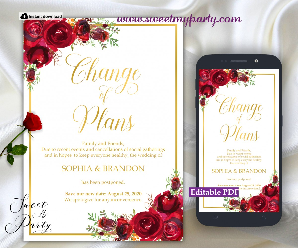 Red Roses Change of Plans Announcement template,(16)
