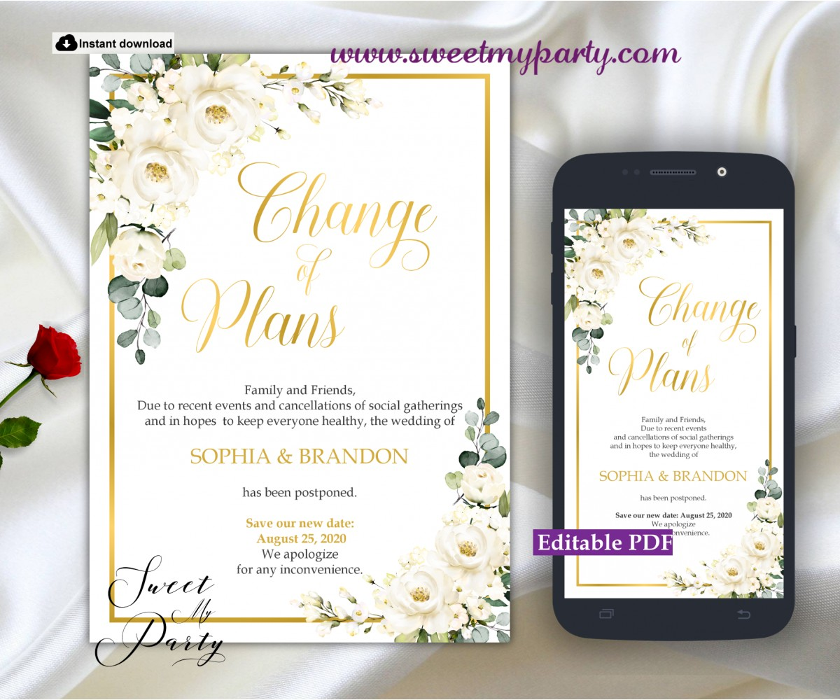 Ivory Roses Change of Plans Announcement template,(123)