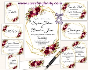 Burgundy Wedding Invitation set,Geometric Wedding invitation set,(116w)