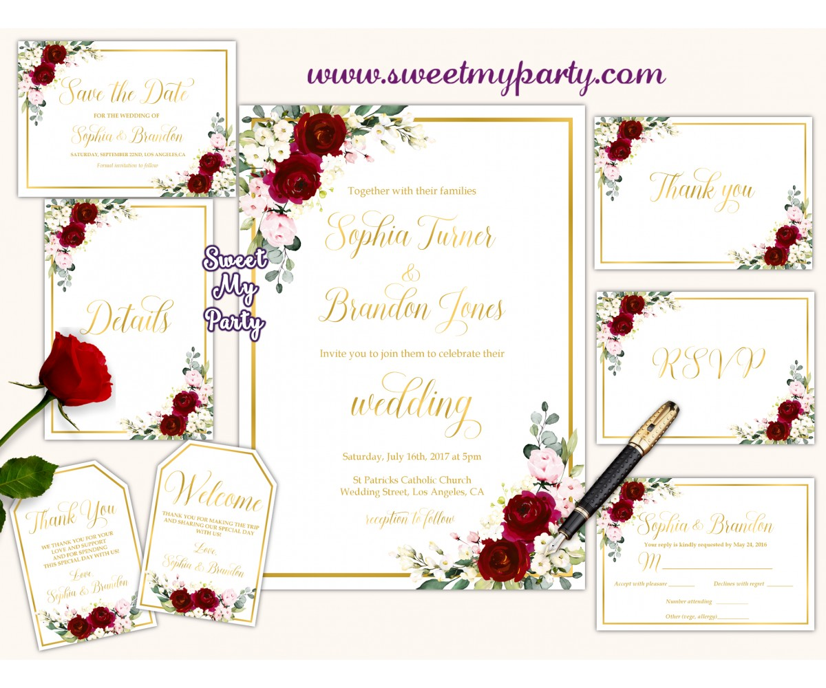 Burgundy Wedding Invitation suite, Ivory invitation suite, (124w)