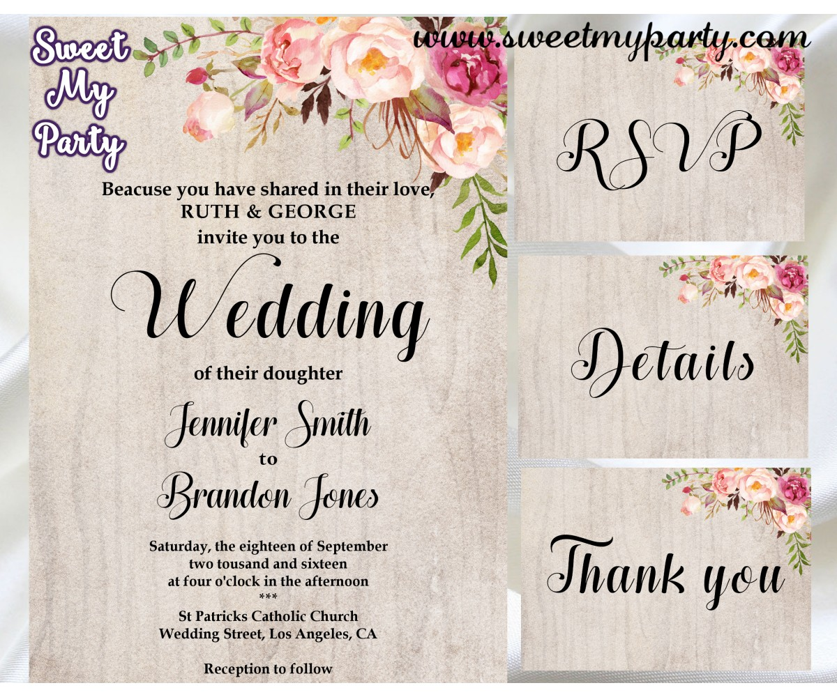 Floral Wedding Invitation set,Boho Wedding invitation set,(031w)