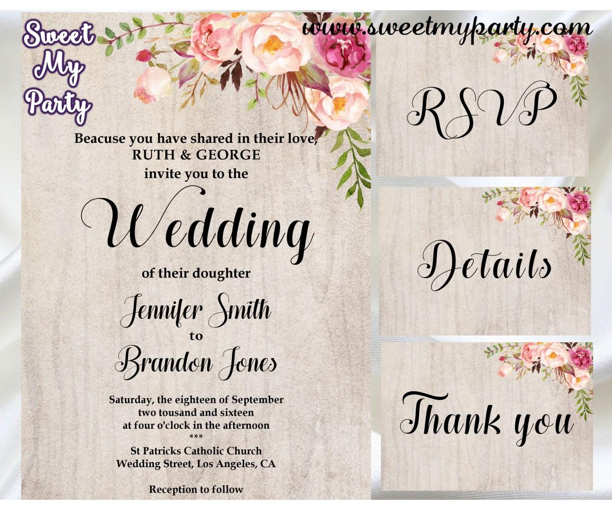 Wedding Invitations Details: Floral Wedding Invitation Kit