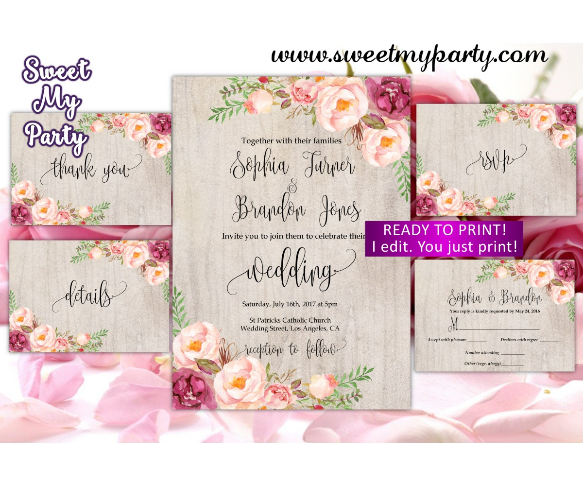 Floral Wedding Invitation set,Blush Wedding invitation set,(31w)