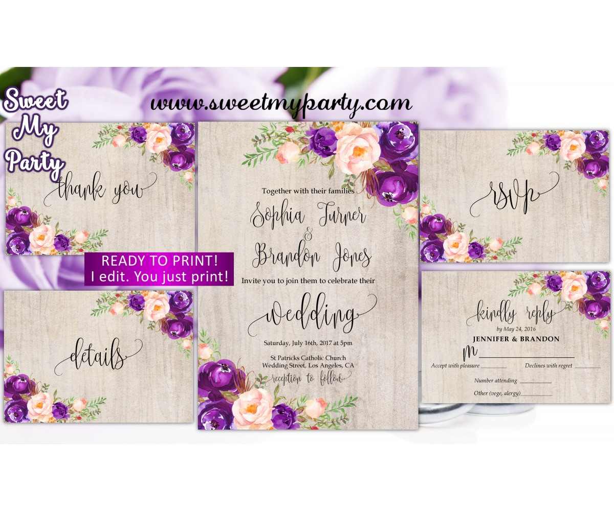 Purple Wedding Invitation suite,Lilac Wedding invitation set,(64w)