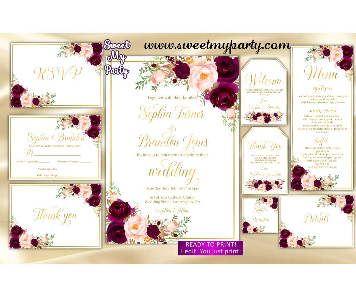Burgundy Wedding Invitation suite, Maroon Wedding invitation set, (61c)