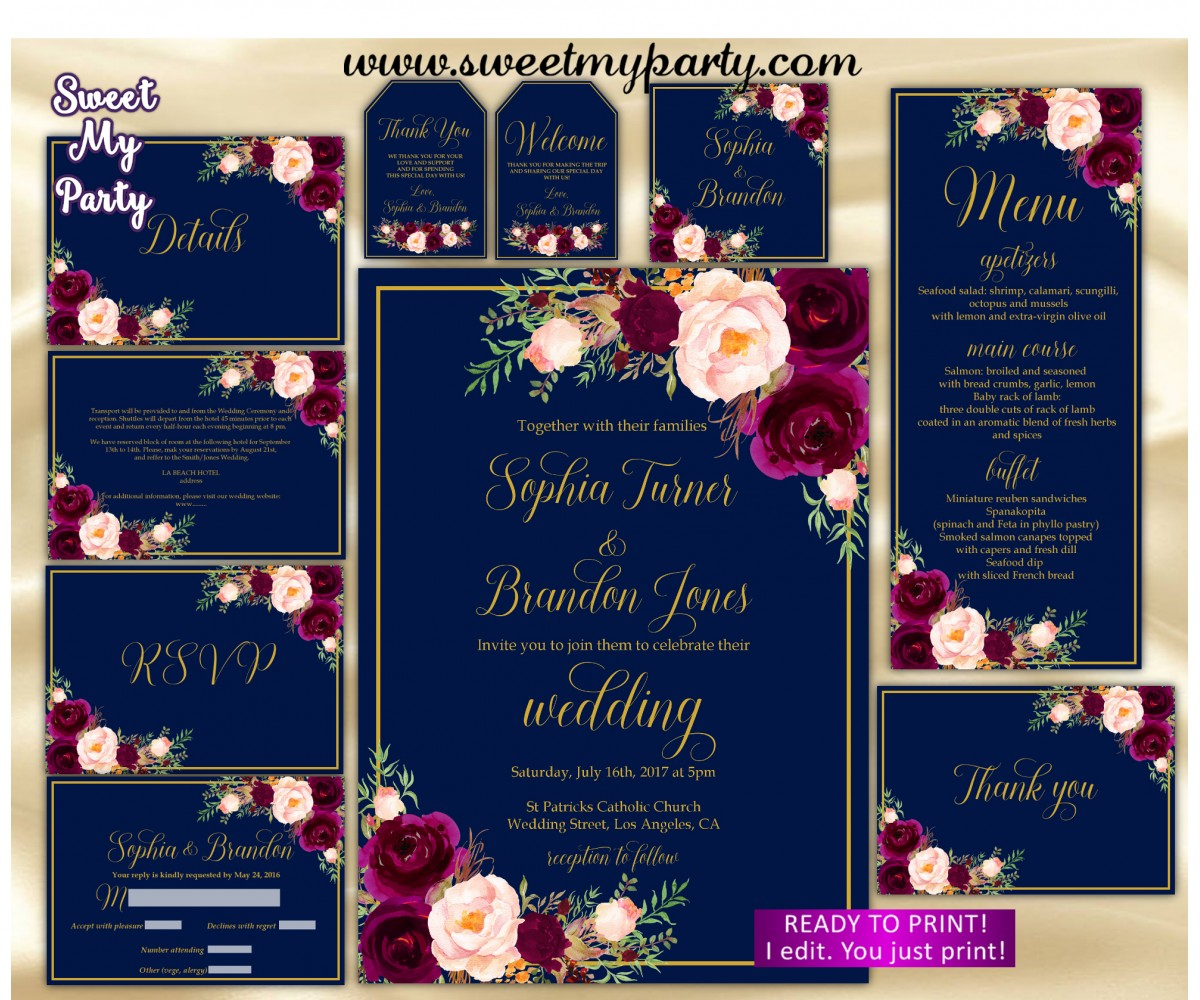 Navy Burgundy Wedding Invitation suite, Maroon Wedding invitation set, (84)