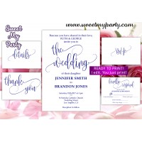 Navy Wedding Invitation suite,Calligrapy Wedding invitation set,(66w)