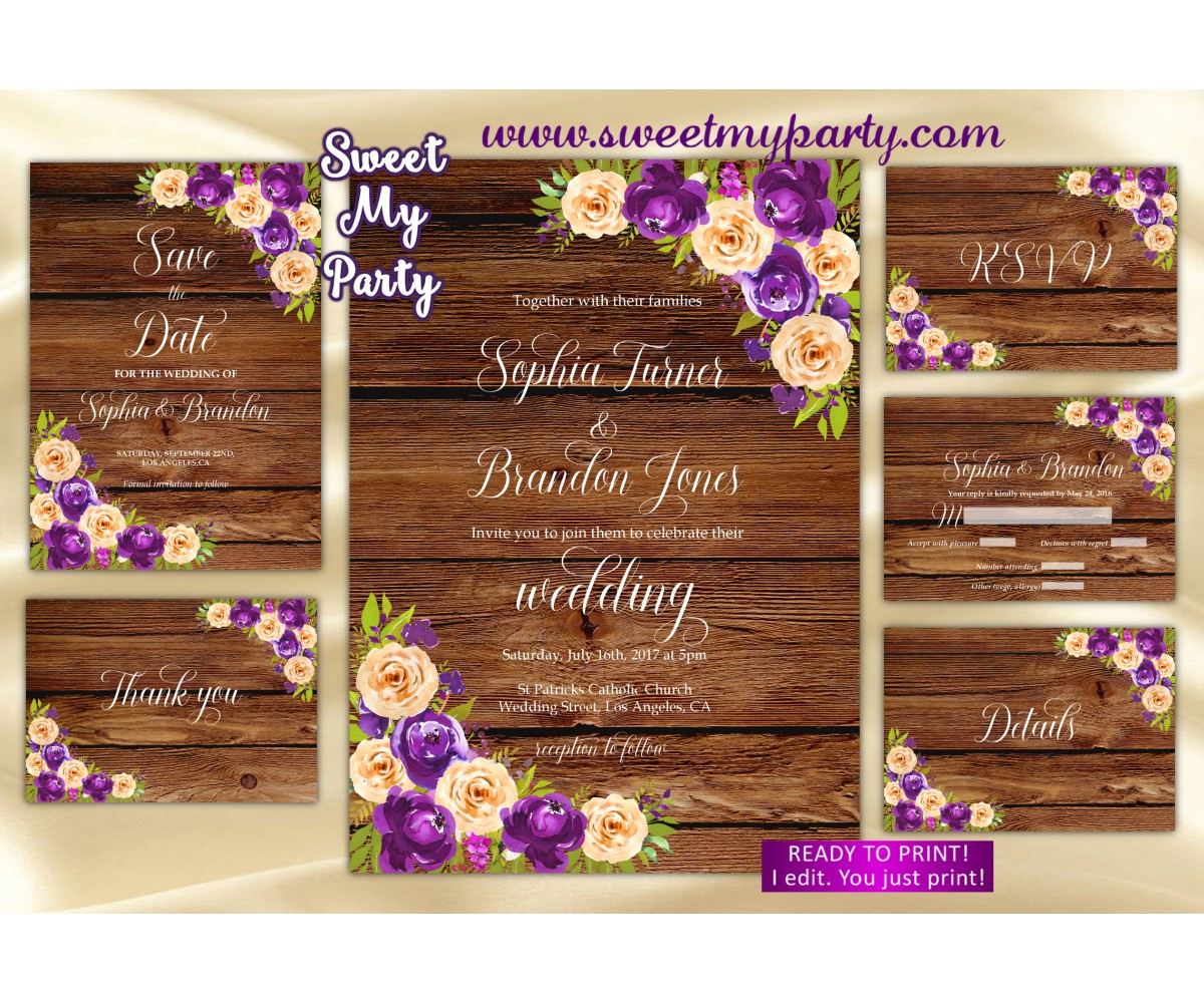 Purple Orange Wedding Invitation set,Lilac orange Wedding invitation set,(81W)