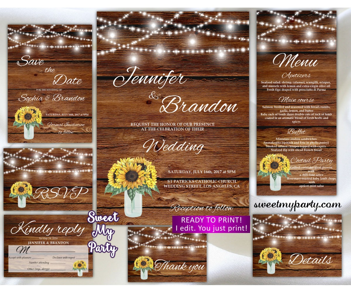Sunflowers Wedding Invitation suite,Mason jar Wedding invitation suite,(94w)