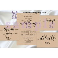 Rustic Wedding Invitation set,Kraft Wedding invitation set,(no.022w)