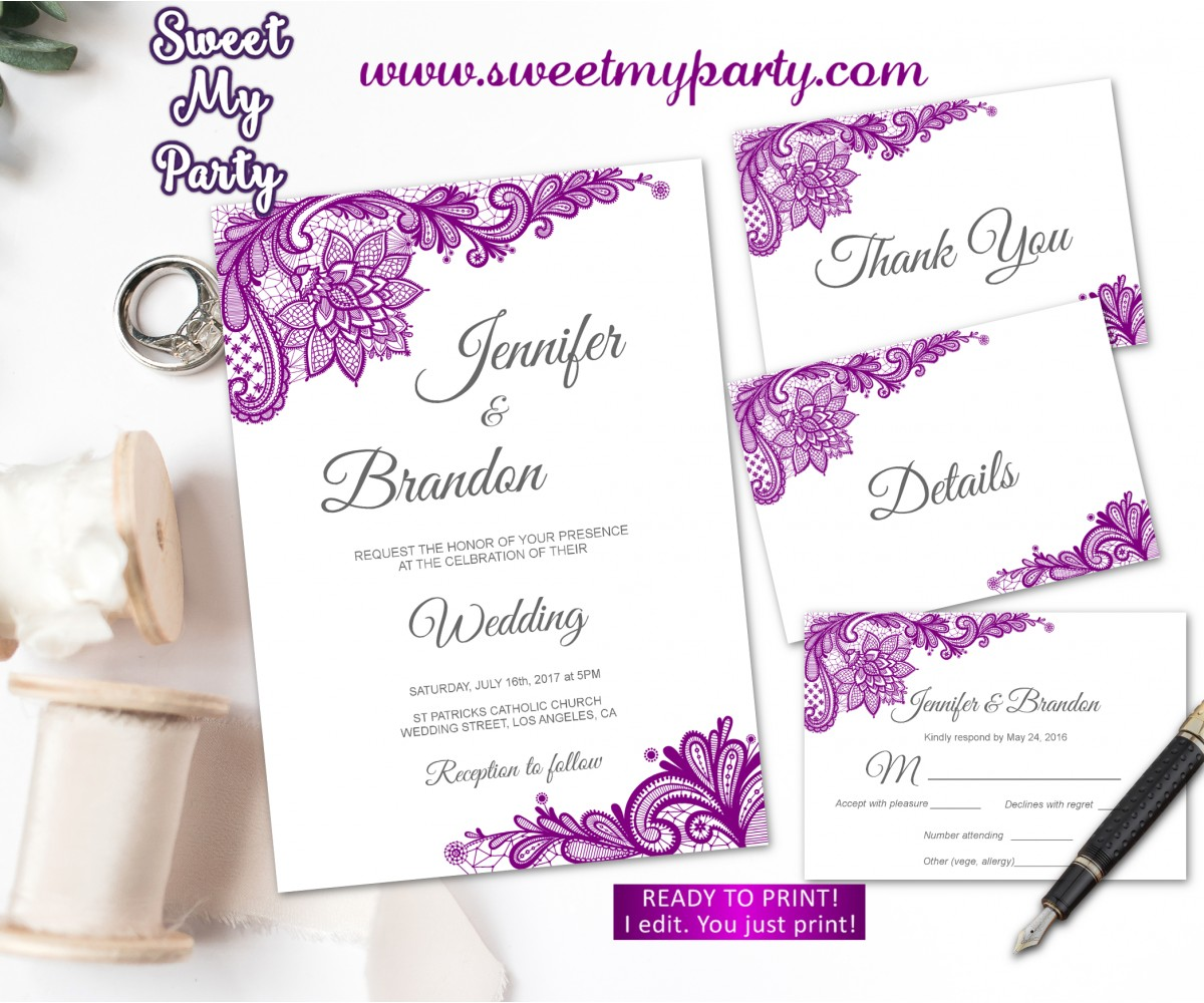 Purple Wedding Invitation suite set, Lace Wedding invitation suite,(115w)