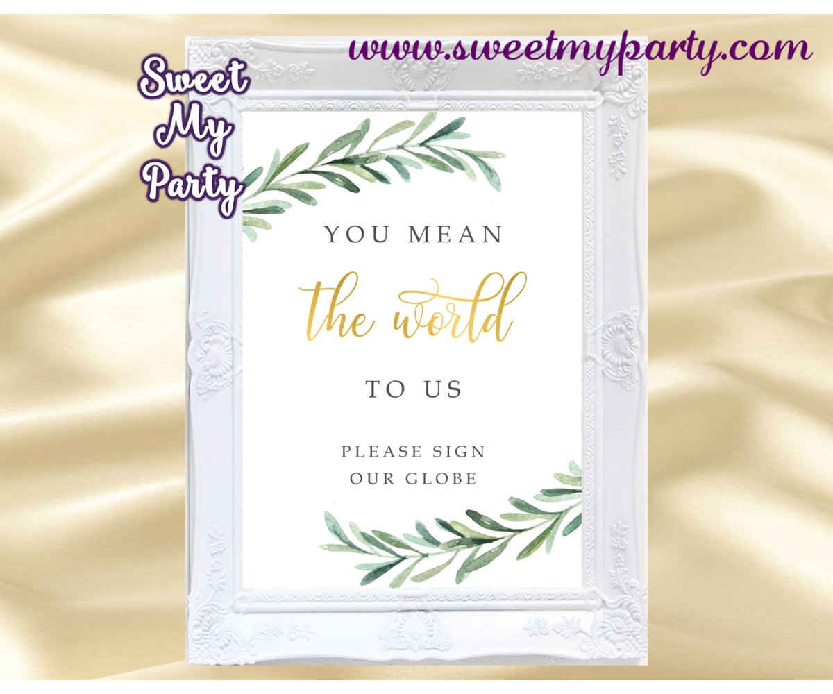 Greenery Globe Guest Book sign printable,Greenery Guest Book sign printable, (78)