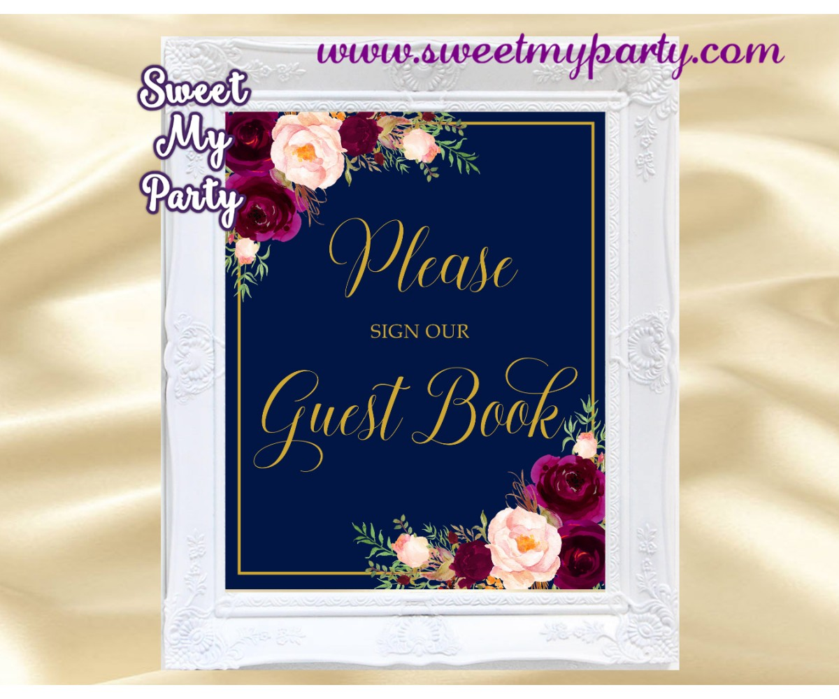 Burgundy Guest Book Sign,Navy Guest Book Sign,(84w)