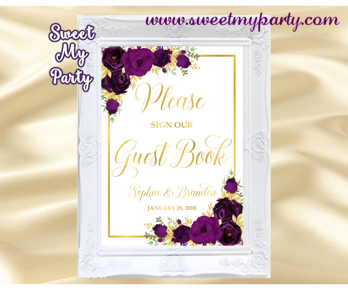 Eggplant Guest Book Sign,Plum Guest Book sign,(19w)