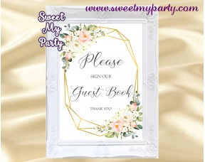 Geometric gust book sign printable,Ivory Blush guest book sign,(128)