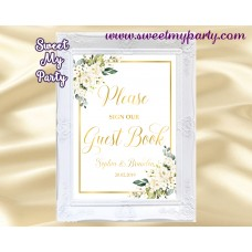 Ivory Roses Guest Book Sign,Cream Roses Guest Book sign,(123b)