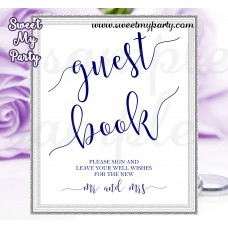 Navy Blue Wedding Guest Book Sign,Wedding Guest Book Sign printable,(019w)