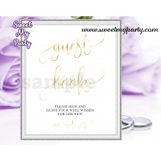 Wedding Guest Book Sign,Wedding Gold Guest Book sign,(025w)