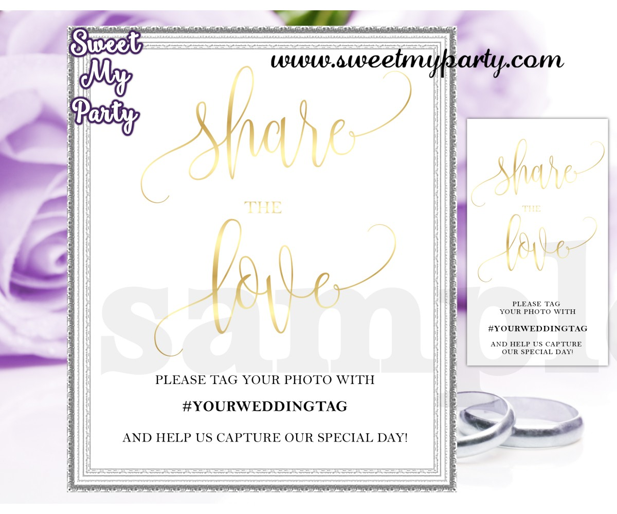 Wedding Hashtag sign,Wedding Instagram sign,Share the love sign,(025w)
