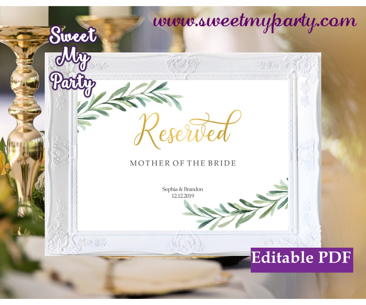 Greenery Reserved sign template,Greenery reserved seating template printable, (78)