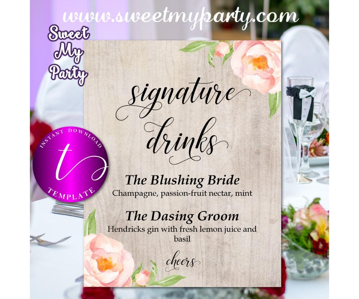 Wedding Signature Drinks.Floral Wedding Signature Drinks Sign Template Boho Wedding Signature Drinks Template 038w