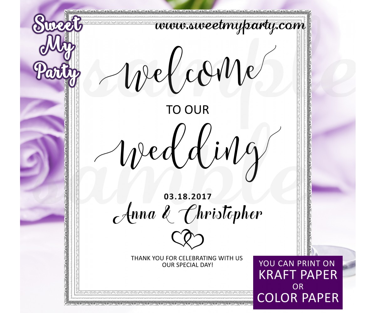 Wedding Welcome Sign,Welcome to our Wedding Sign,(021w)