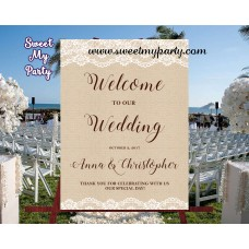 Rustic Wedding Welcome Sign,Lace Burlap Welcome sign,(029w)