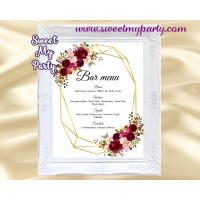 Geometric Bar Menu sign printable,Burgundy bar menu sign printable,(116w)