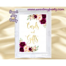 Burgundy Cards and gifts sign, Gold cards and gifts sign, (20w)