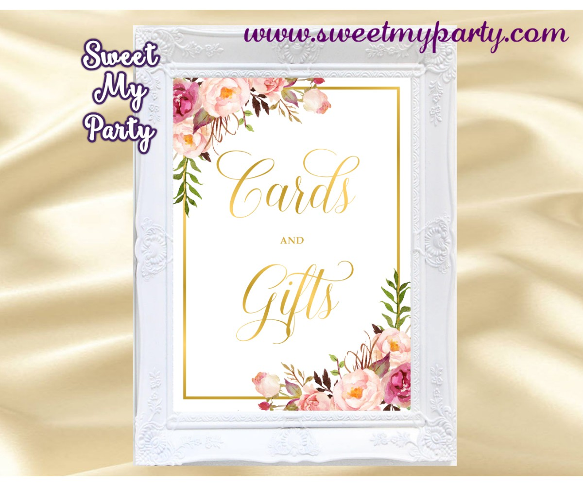 photo regarding Cards and Gifts Sign Printable identify Floral Playing cards and items signal printable, Blush Playing cards and presents signal,(31g)