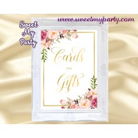 Floral Cards and gifts sign printable, Blush Cards and gifts sign,(31g)
