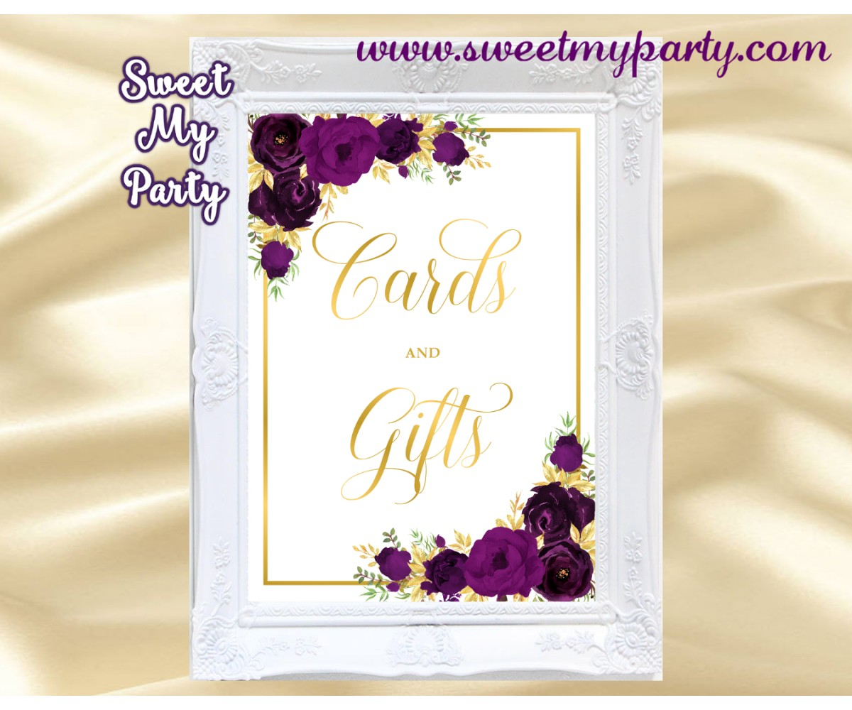 Eggplant Cards and gifts sign printable, Gold Cards and Gifts sign, (19w)