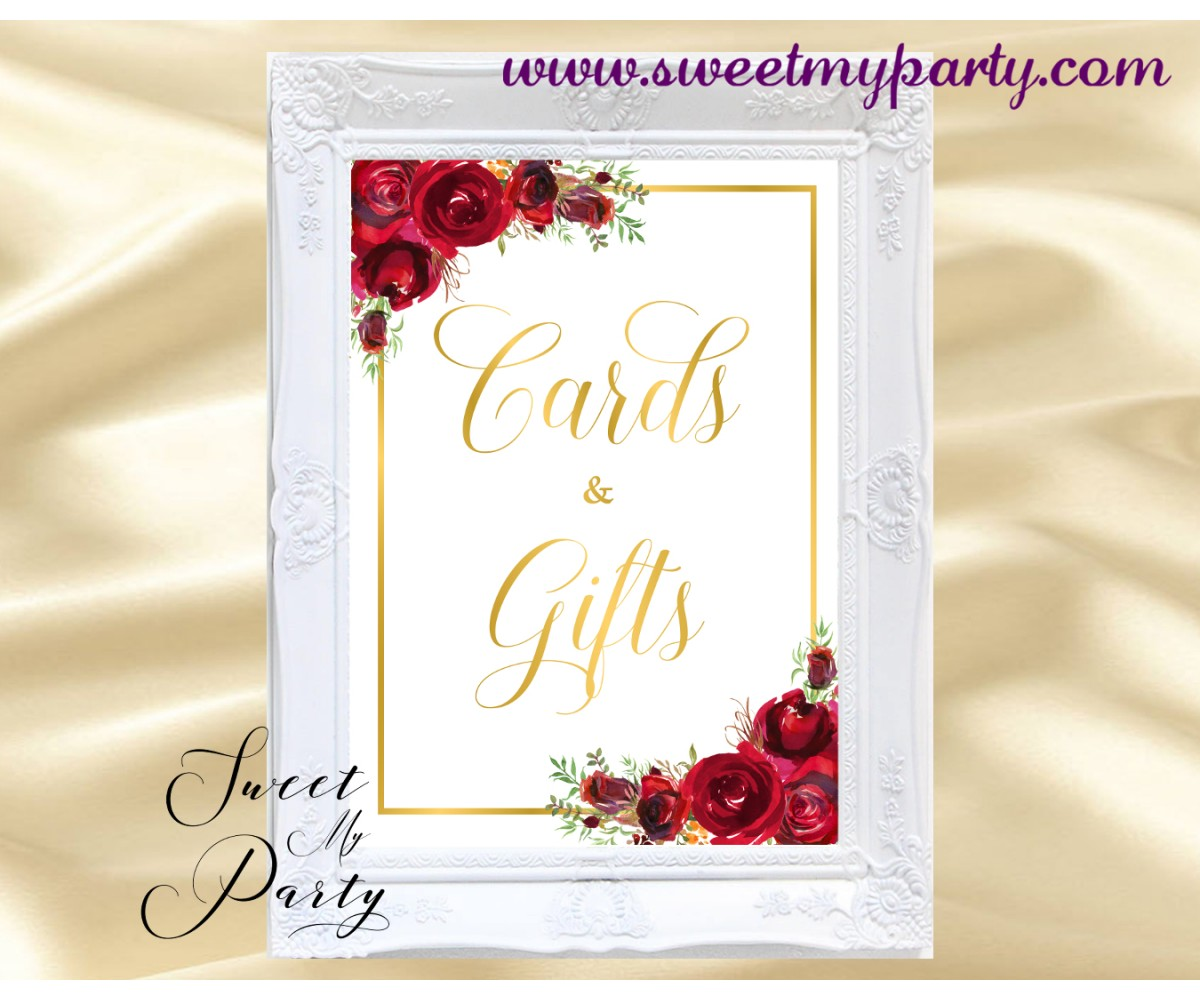 Red Roses Cards and Gifts Sign, Red Flowers Cards and Gifts Sign,(16)