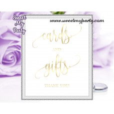 Wedding Cards and gifts sign,Wedding Gold Cards and Gifts sign,(025w)