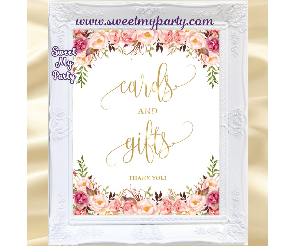 Blush Wedding Cards and Gifts sign, Wedding Sign, (57w)