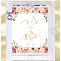 Floral Wedding Cards and Gifts sign, Wedding Sign, (57w)
