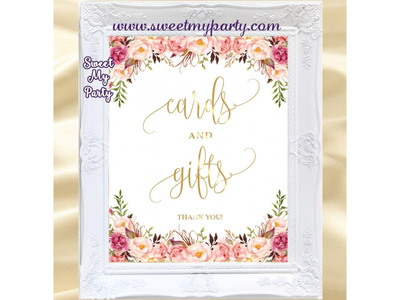 Floral Cards And Gifts Wedding Sign Printable Boho Cards And Gifts