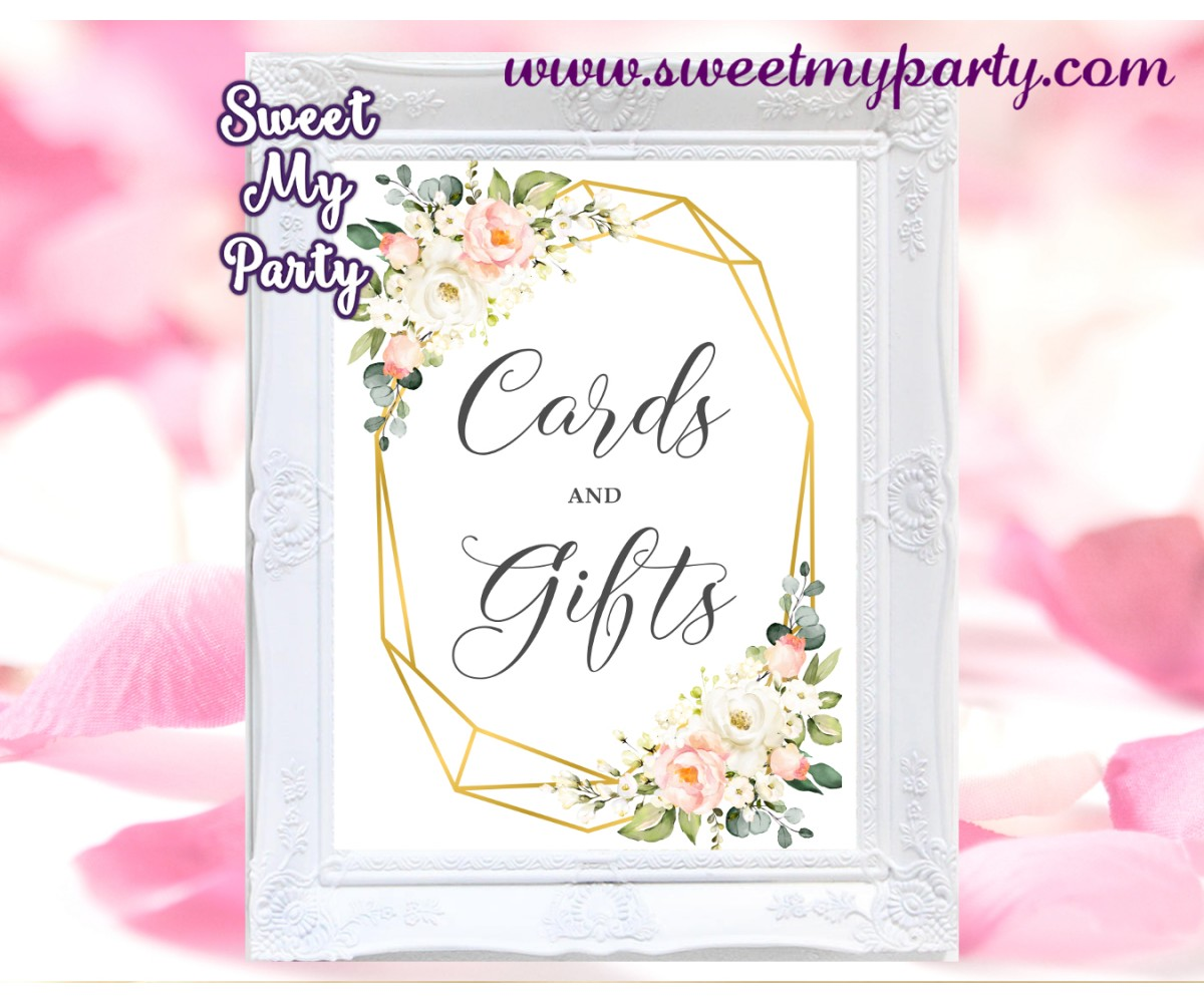 Geometric Cards and gifts sign printable,Floral cards and gifts template,(128)