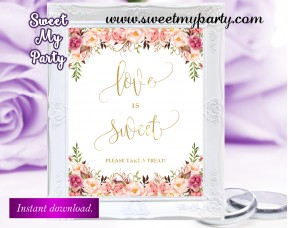 Floral Weedding Love is Sweet Sign,Wedding sign,(57w)